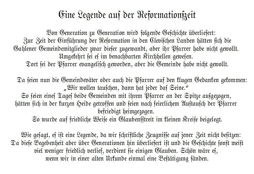 Eine Legende aus der Reformationszeit