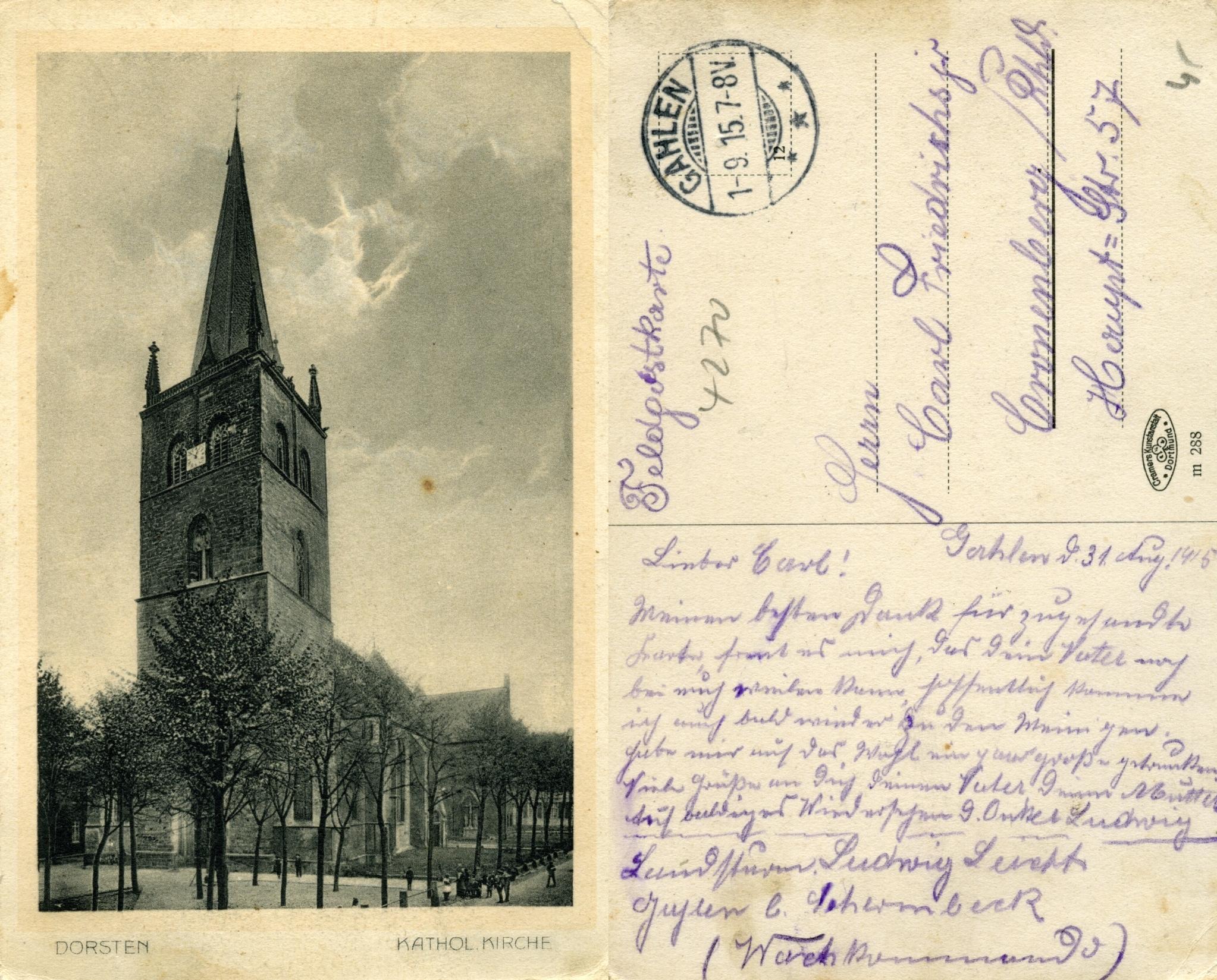 Karte Poststempel Gahlen anno 1915