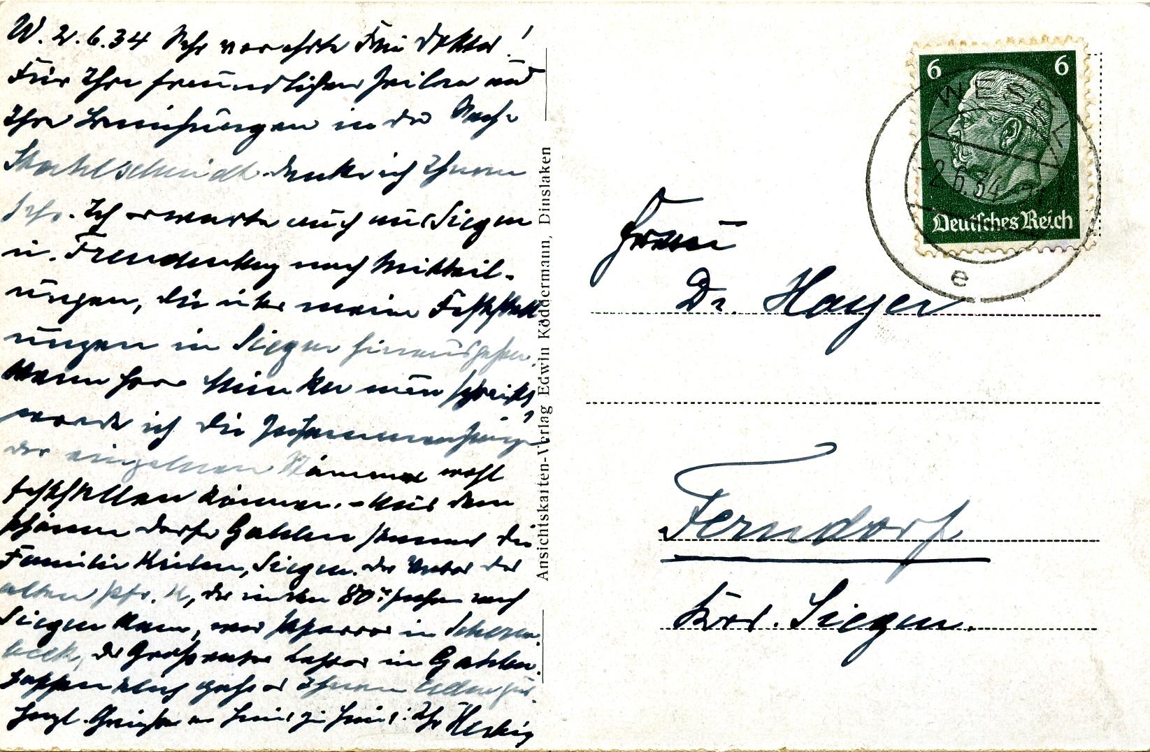 Rückseite der Postkarte Benninghoff u. Kirche von 1935