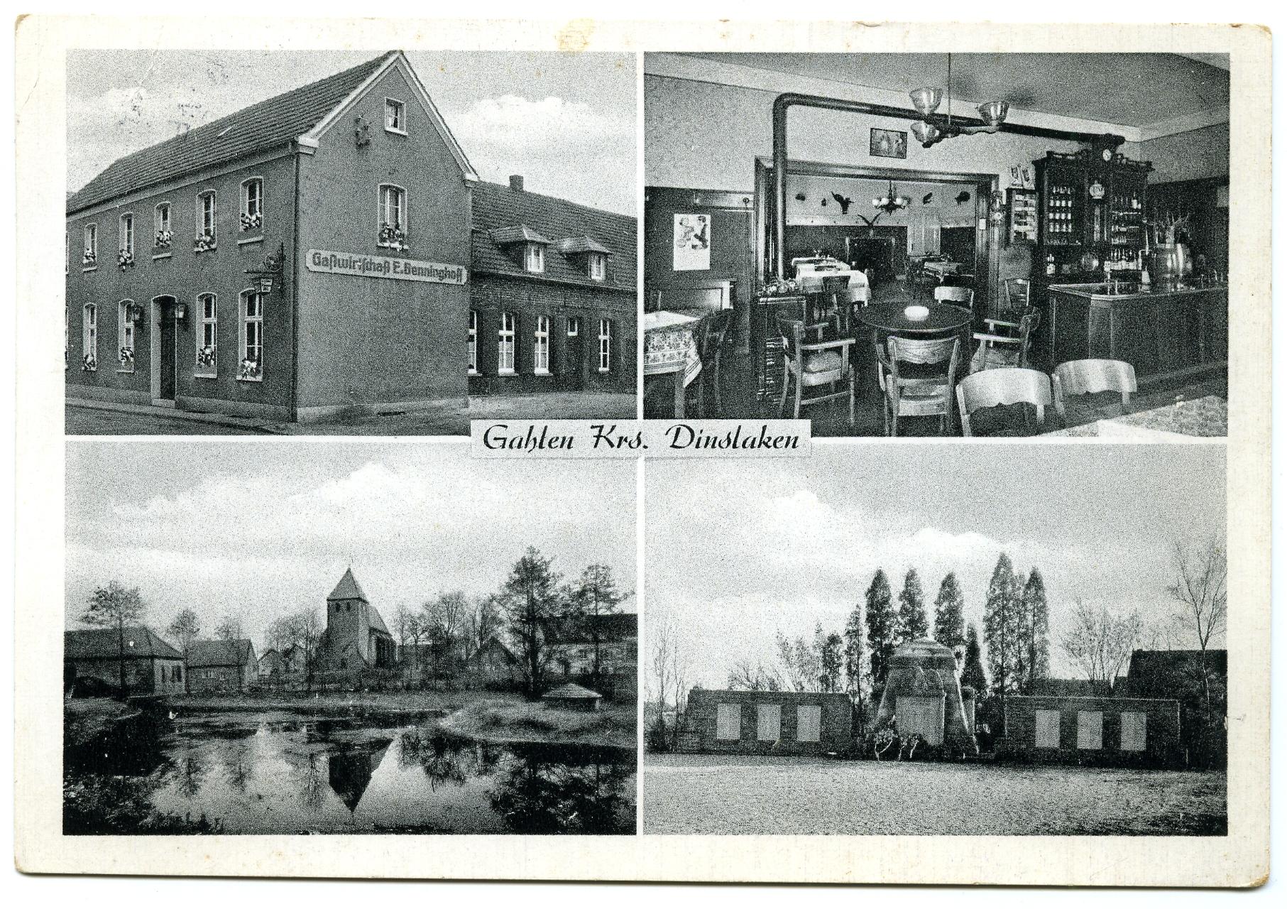 Postkarte Gahlen 1956 -Vorderseite-